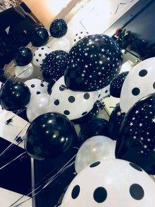New years eve party black and white balloons at Boars Head Hotel